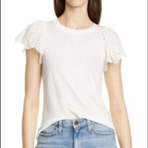 Rebecca Taylor Lace Sleeve Cotton Tee White
